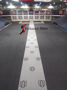 Southwestern-University-Court-Armor-tile-gym-floor-cover-with-logo-center-runner