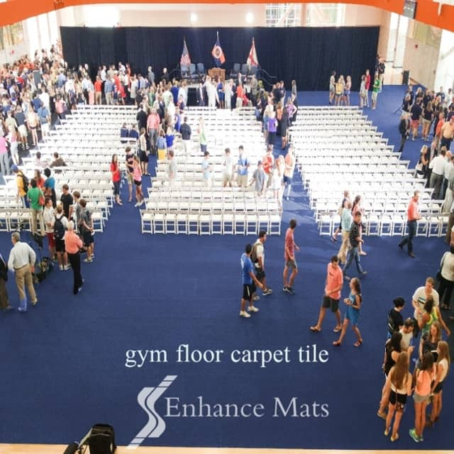 Premier Tile gym floor cover is the heavy duty protection for Auburn Universitys graduation and commencement event