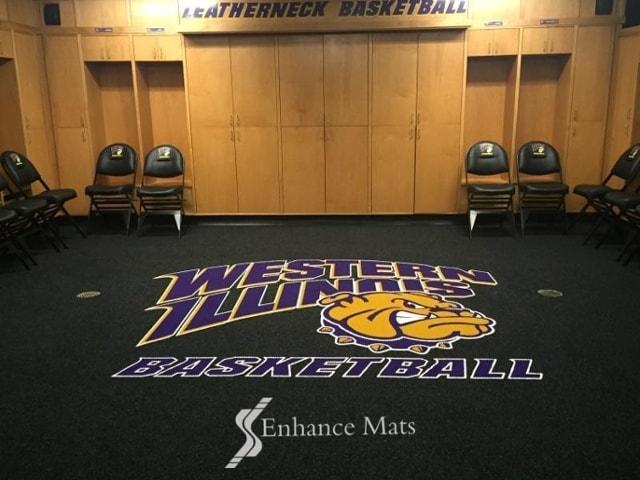 custom logo locker room carpet mat for Western Illinois Basketball
