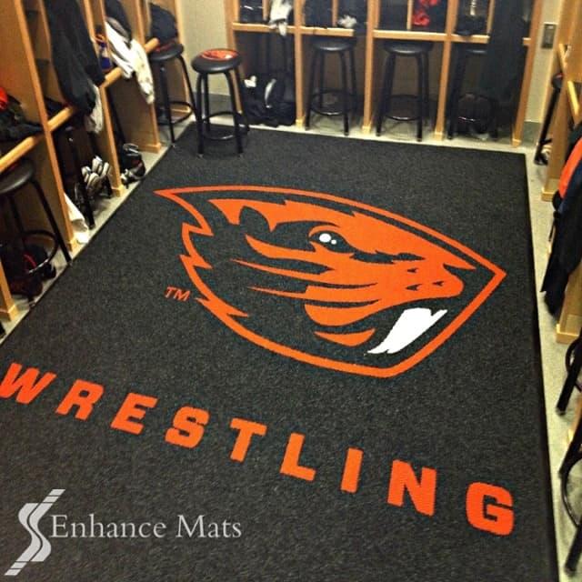 wrestling logo locker room mat custom logo mats custom floor mats logo