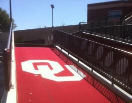 Oklahoma Sooners football custom logo stadium carpet mat makes a grand entrance branding statement grande
