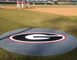 preview gallery Baseball Softball on deck circles custom logo mats locker room carpet georgia bulldogs
